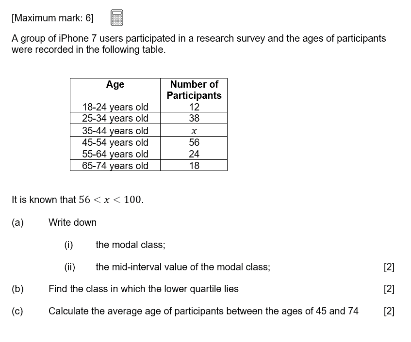 IB Maths Studies Exam Question - Descriptive Statistics