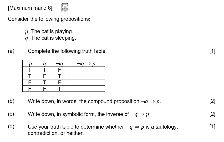 IB Maths Studies Exam Question - Logic, Sets and Probability