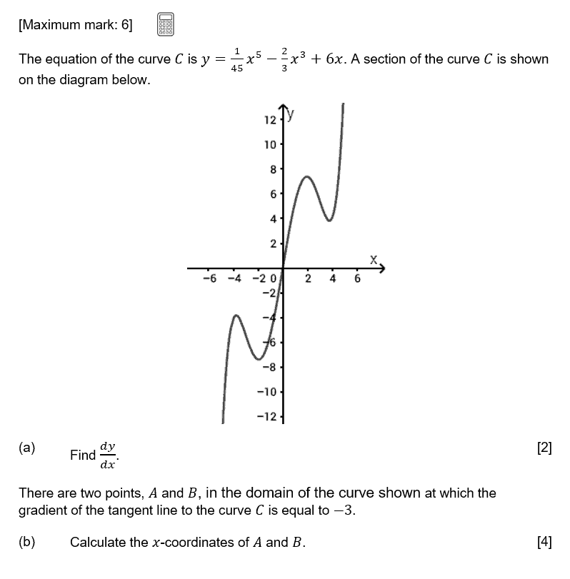 IB Maths Studies Exam Question - Differential Calculus