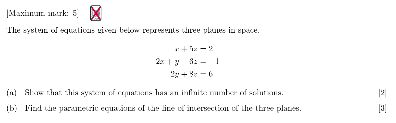 IB Maths HL Questionbank - System of Linear Equations
