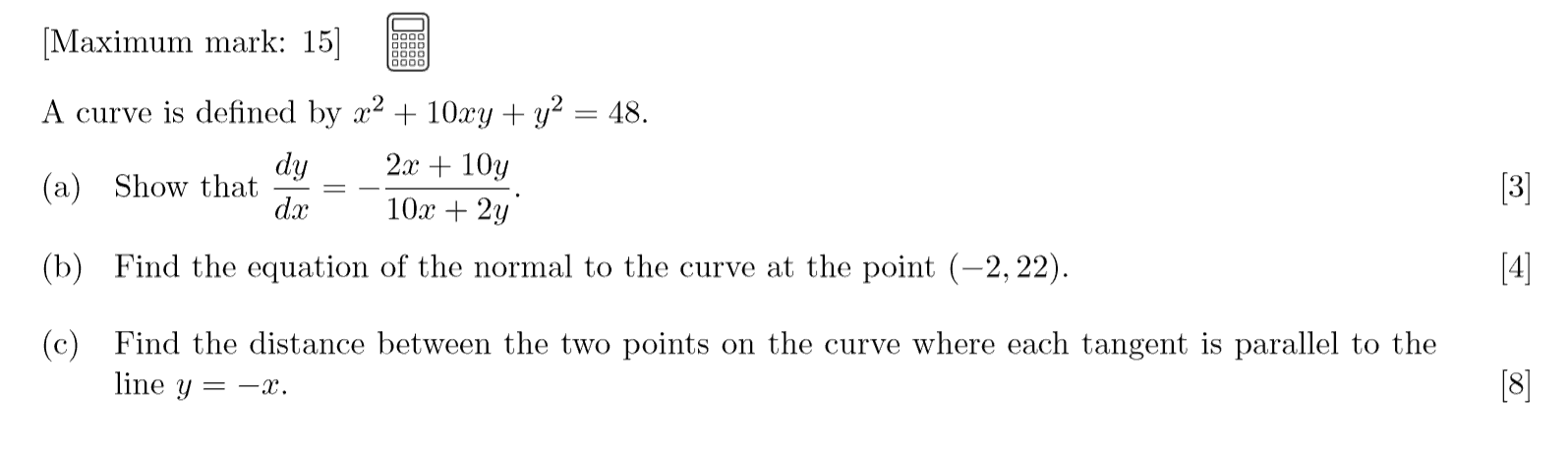 IB Maths HL Exam Question - Calculus
